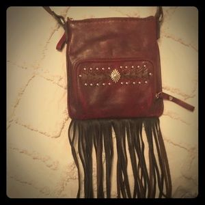 American West red leather crossbody purse